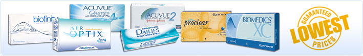 We always have the lowest prices on Contact Lens brands and product lines such as Acuvue, Biofinity, Air Optix, Acuvue Oasys, Dailies, Acuvue 2, Proclear, biomedics and many more contact lenses.